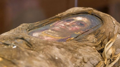 mummified girl, casket top