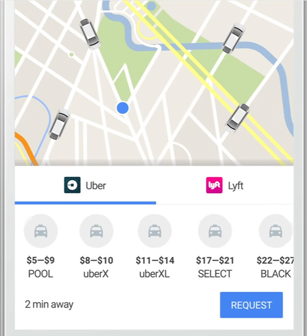 Google Map Request: Order Uber And Lyft Directly From Google Maps